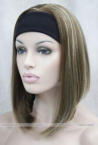 Light-Brown-Blonde-Mixed-Cute-with-headband-Women-3-4-half-Wig-ATLD104