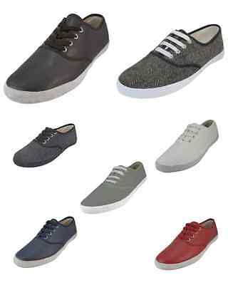 Mens Leather Tweed Lace Up Casual Fashion Canvas Shoes Easy USA Sizes 7-12