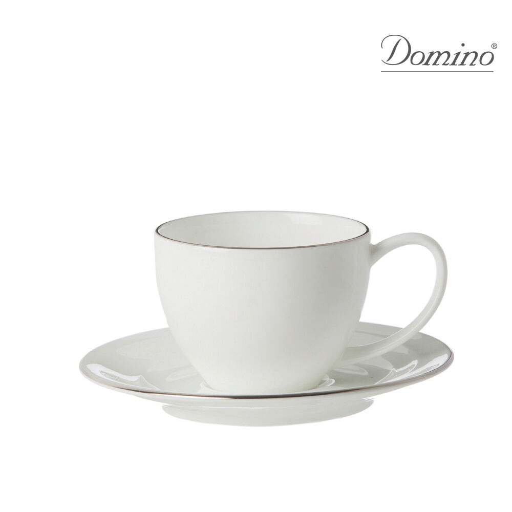 Domino - Unitable - 6 Tasses Café avec plat Spirale Platine - Revendeur