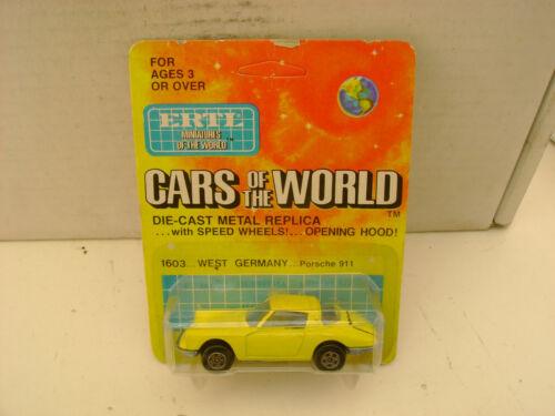 ERTL CARS OF THE WORLD MADE IN HONG KONG 1603 PORSCHE 911 NEW ON CARD