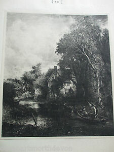 ANTIQUE-PRINT-1901-THE-VALLEY-FARM-BY-JOHN-CONSTABLE-FAMOUS-PAINTINGS-VINTAGE
