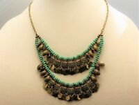 Pixley Julianna Turquoise Color Coin Necklace Gold Pewter Indian Native American