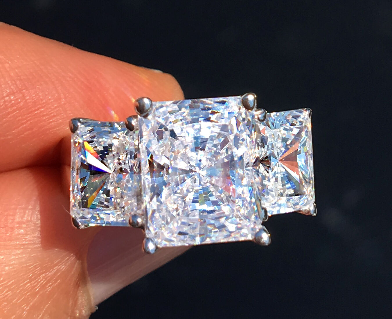 7 ct Radiant Cut Ring Top Russian Quality CZ Simulated Mossanite Imitation 5.25