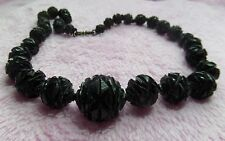 GENUINE VICTORIAN CARVED WHITBY JET  BEAD NECKLACE