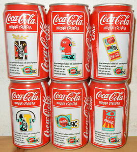 1993-COCA-COLA-6-cans-FR-MUSIC-COLLECTION-set-from-HOLLAND-33cl