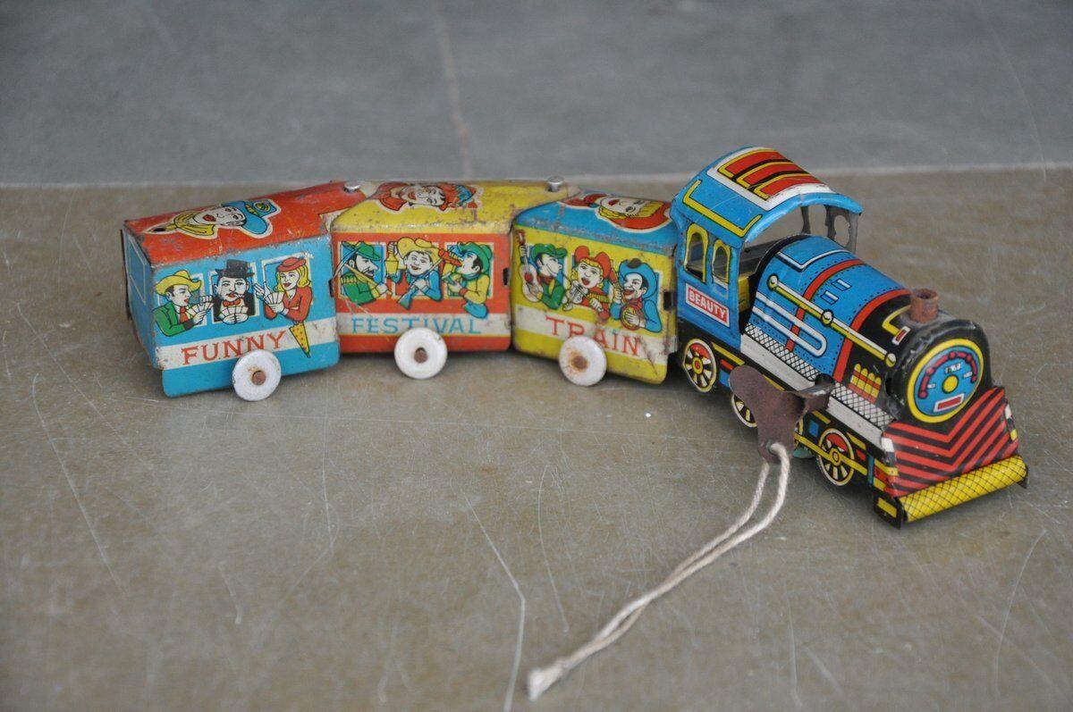 Vintage Wind Up Belleza Gracioso Festival tren Litografía de juguete de estaño