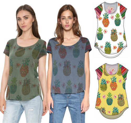 Desigual Camille Tshirt Top XS-XXL UK 8-18  RRP ?44 Subtle Pineapple Print