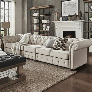 knightsbridge beige linen oversize extra long tufted chesterfield modular sofa b ebay. Black Bedroom Furniture Sets. Home Design Ideas