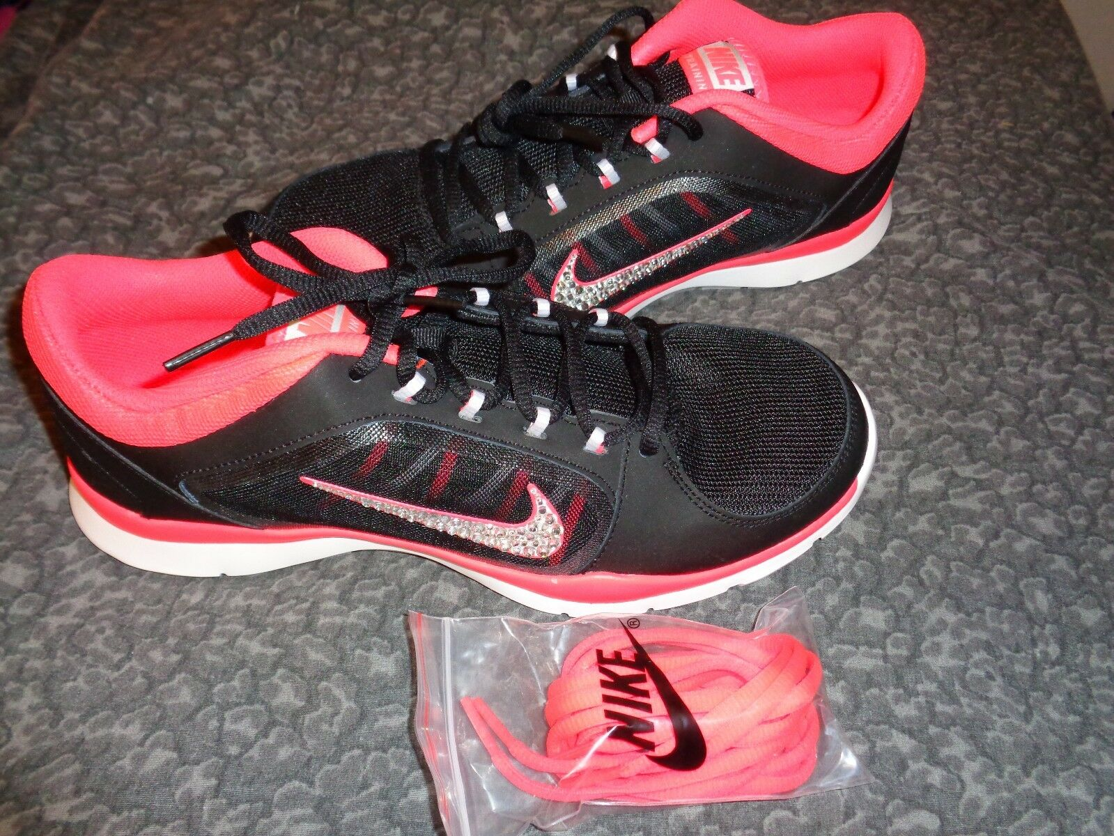 7e06a795617f Bling Rhinestone Nike Flex Trainer 4 Black Pink SNEAKERS Stylish Custom 11  for sale online