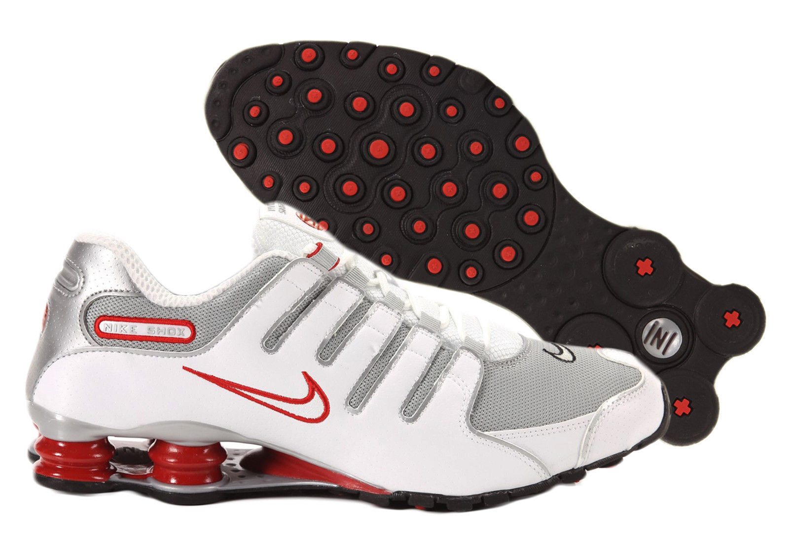huge selection of ba1f4 63713 Mens Nike Nike Nike Shox NZ Premium Sneakers New, White Red Silver 378341- 104