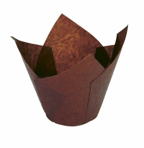 50 Chocolate Brown Tulip Shaped Muffin Cake Cases Wraps for Baking