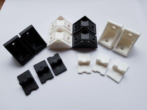 DOUBLE PLASTIC CORNER CONNECTING SHELVING CABINET SUPPORT BRACKET WHITE BLACK