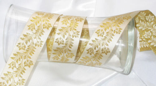 "1.7//16/"" /'Musk Mallow/' Floral Jaquard ribbon x 1 yard 40mm"