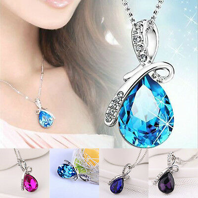 Fashion Jewelry Womens Crystal Angel Tears Drop Water Pendant Necklace New