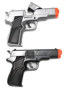2-Cap-Pistols-45-style-1-Black-1-Silver-Gray-Plastic-Toy-Guns