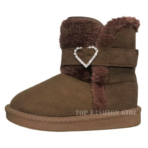 New Classic Baby Round Toe Side Button Faux Fur Boots Toddler Shoe Size 3 to 8