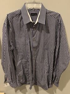Jared-Lang-Mens-Shirt-Size-L-Button-Down-Stripe-Navy-Blue