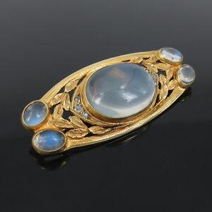 Art-Nouveau-American-Rose-Cut-Diamond-amp-Moonstone-14K-Yellow-Gold-Brooch-Pin
