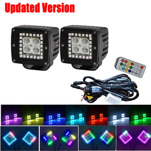 2X-3-034-24W-Flood-Led-Work-Light-Bar-Pods-RGB-Halo-Multi-Color-Change-Chasing-Kit
