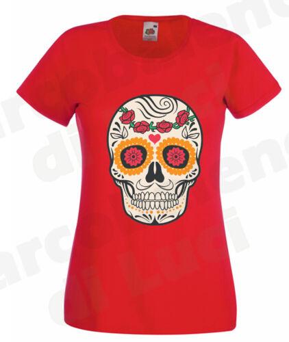 T-SHIRT DONNA TESCHIO MESSICANO MEXICAN SUGAR SKULL MAGLIETTA fashion tattoo