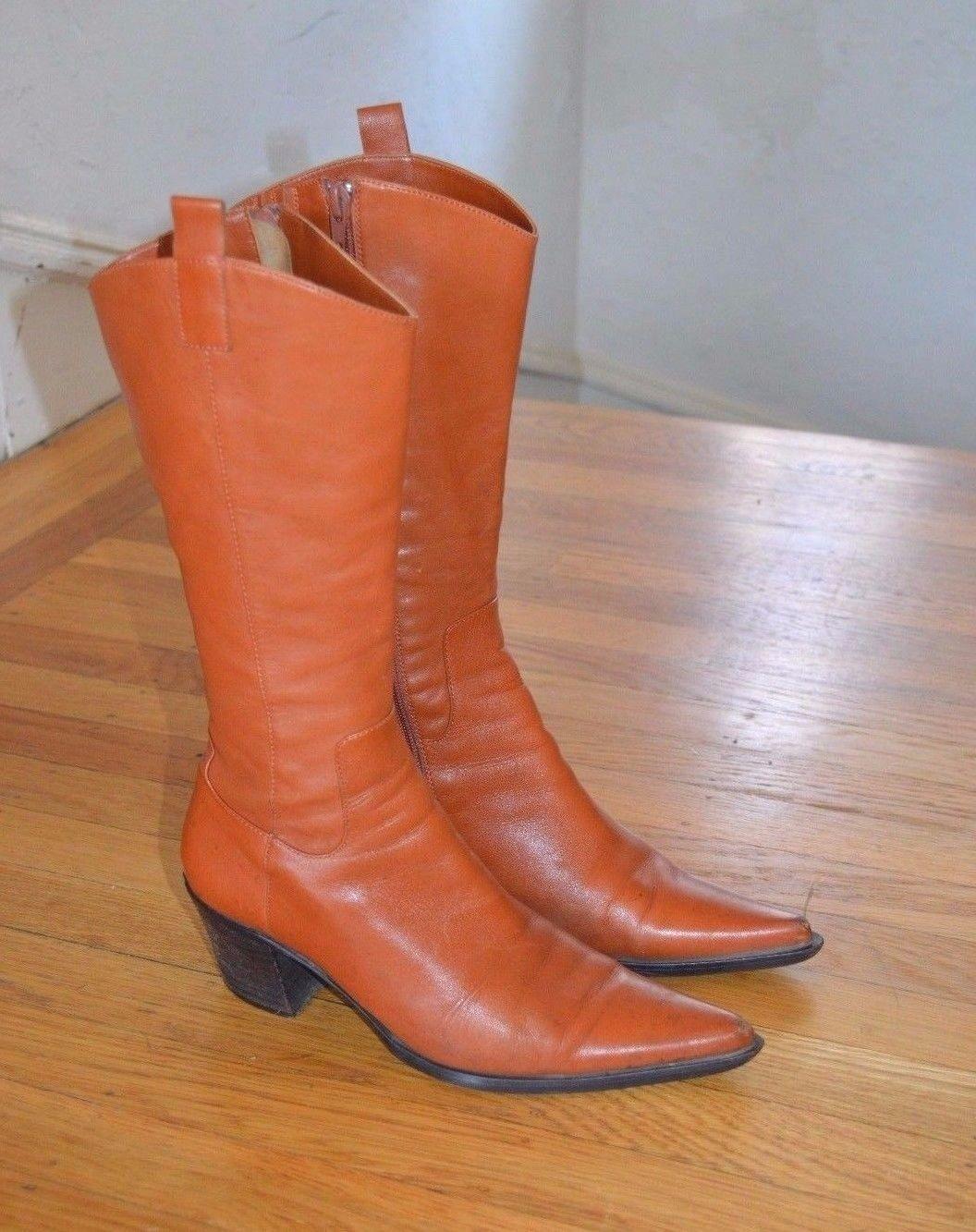 Carlo pazolini Italian Designer Caramelo Cuero botas de vaquero (UE)
