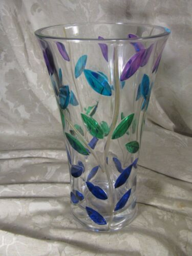 """Vintage 10"""" Heavy Murano Italy Cut Glass Hand Painted Vase Leaves & Vines"""
