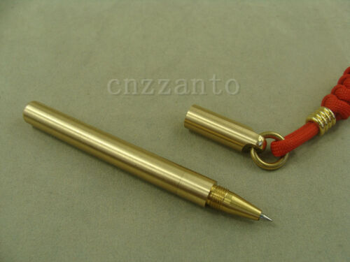 Solid brass ball point pen EDC mini size key pendant with lanyard Paracord bead