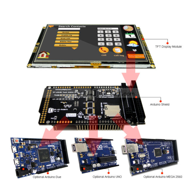 """Serial SPI 5"""" inch 480x272 TFT LCD Touch Shield for Arduino Due,MEGA 2560,Uno"""