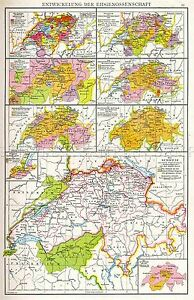 MAP-ANTIQUE-DROYSEN-1886-SWISS-REPUBLIC-OLD-LARGE-REPLICA-POSTER-PRINT-PAM0891