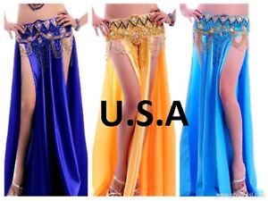 FREE GIFT Belly Dance Costume Satin Skirt with Slits  USA  Fast Shipping