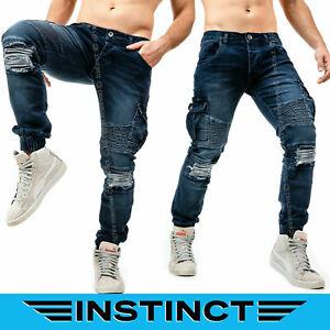Jeans-Uomo-Slim-FIt-Pantaloni-con-Tasche-Laterali-Strappi-Strappato-Biker-Blu