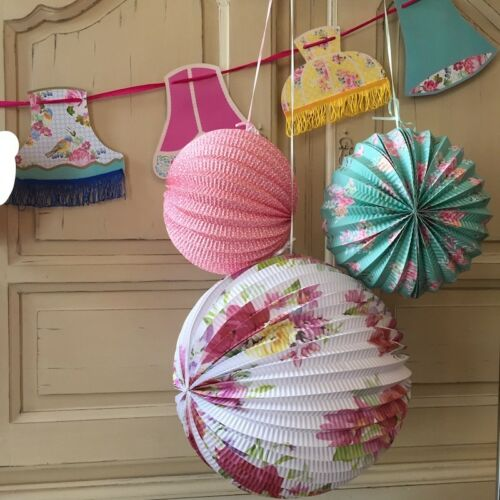 FLORAL FIESTA Hanging Lanterns x 3 and//or Lampshade Bunting Party Decorations