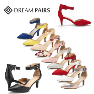 DREAM-PAIRS-Women-039-s-Pointed-Toe-Low-Heel-Ankle-Strap-Party-Work-Dress-Pump-Shoes