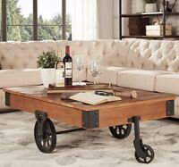 Rustic Coffee Table Railroad Cart Industrial Living Room Cocktail Vintage Modern