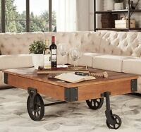 Vintage Coffee Table Rustic Railroad Cart Industrial Cocktail Wood Living Room