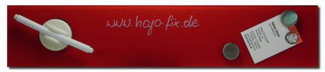 Glastafel 10 x 50cm, rot, inkl. Stift, Wischer und zwei Magnete
