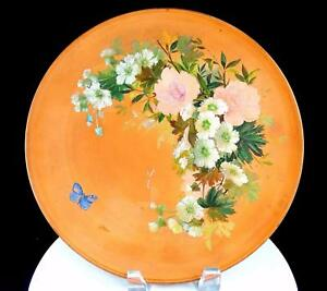 P-IPSEN-ANTIQUE-DANISH-ART-POTTERY-ROUND-FLORAL-11-1-2-034-WALL-PLATE-1871-1917