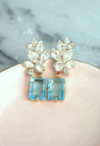Details about  /5.75Ct Emerald Cut Blue Topaz Diamond  Drop//Dangle Earrings 14K Rose Gold Finish