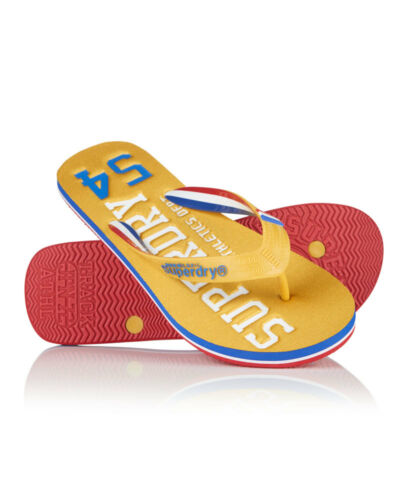 New Mens Superdry Track /& Field Flipflop Track Gold//Royal Ble