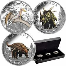 Canada 2016 Day of Dinosaurs Complete 3 Coin Set $10 Silver Proofs in Case Box