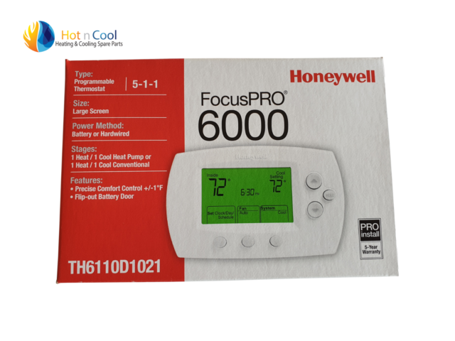 Programmable Focus PRO6000 Heat & Cool Room Thermostat suits Brivis and others