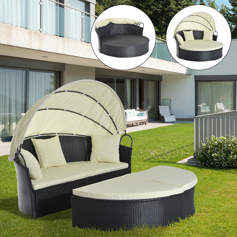 Outsunny Sonneninsel Lounge Gartenliege Sonnenliege Sonnenliege Sonnenliege Garnitur mit Dach Polyrattan 4d6fb7