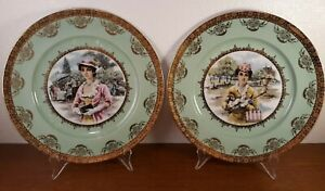 PAIR-Antique-Royal-Vienna-Hand-Painted-Portrait-Cabinet-Plates-Beehive-Mark