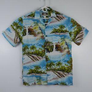 Kalaheo-Palm-Aloha-Island-Camp-Blue-S-S-Hawaiian-Shirt-Mens-Sz-Small