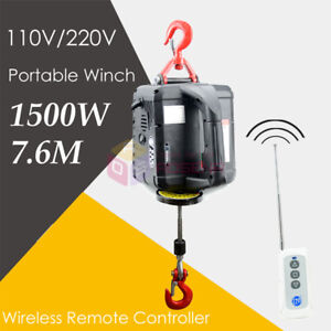 Details about 110V/220V Portable Household Electric Winch Wireless Remote  Control Rope Hoist