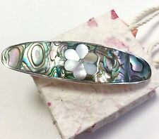 Hair clip Mexico Barrette Abalone Mother Of Pearl Floral Design Fair Trade