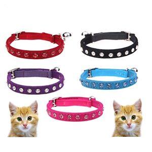 Cat-Safety-Collar-Pet-Velvet-Crystal-Red-Blue-Pink-Black-amp-Purple-30cm