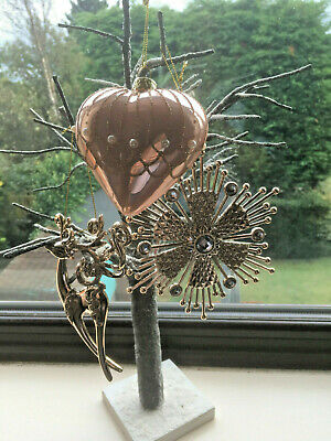 Rose Gold Christmas Tree Decorations - Pearl Heart ...