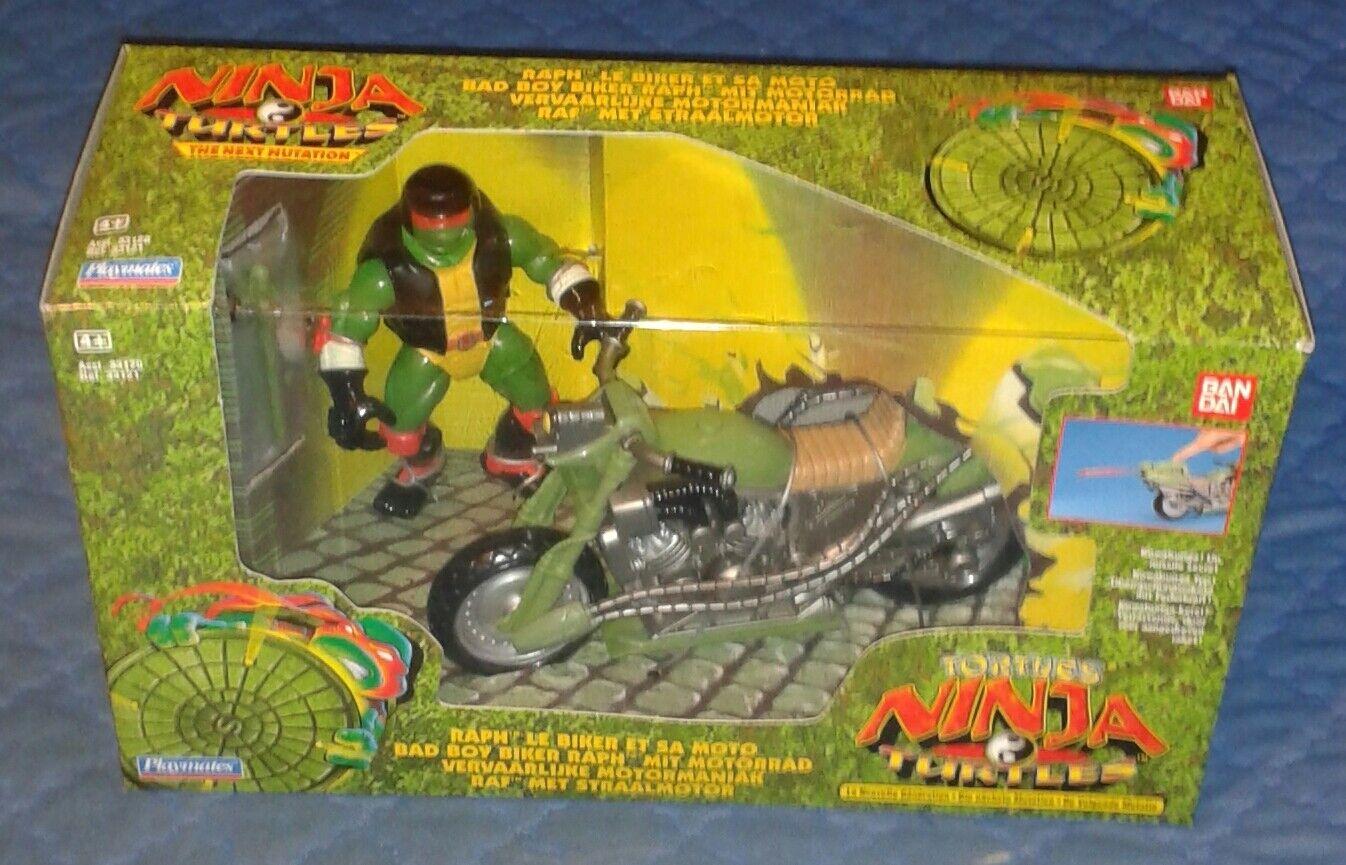 1997 NEXT MUTATION  BAD BOY RAPH AND CYCLE MISB  TEENAGE NINJA TURTLES TMNT
