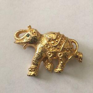 Vintage-Ornate-Gold-Tone-Elephant-Brooch